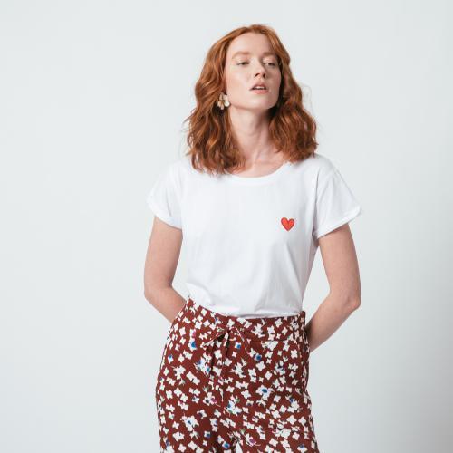 T-shirt manches courtes brodé cœur Livy