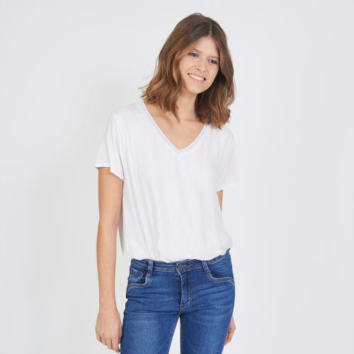 3S. x Stylist - Tee-shirt manches courtes doublure soie - T-shirt manches courtes