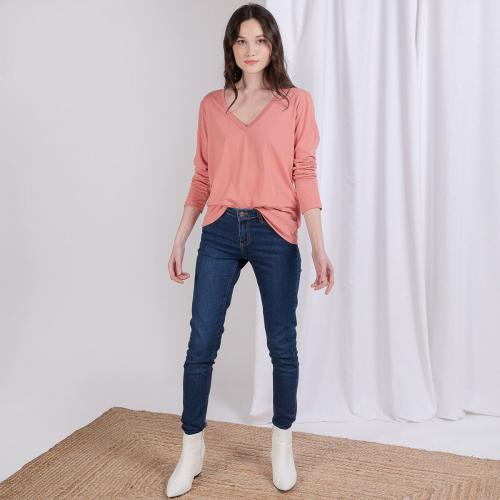 3S. x Stylist - Tee-shirt en coton bio col V Alba - Vetements femme rose