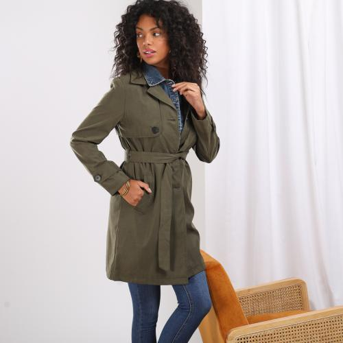 3S. x Basics - Trench mi-long col en denim Kate - Mise au vert