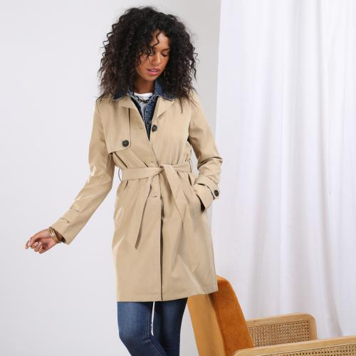 3S. x Basics - Trench mi-long col en denim Kate - La mode