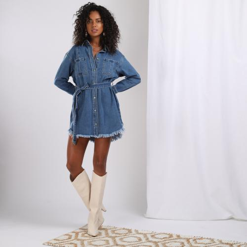 3S. x Stylist - Robe courte en denim - Denim