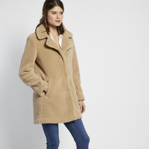 3S. x L'Edition - Manteau long en peluche beige - Manteau