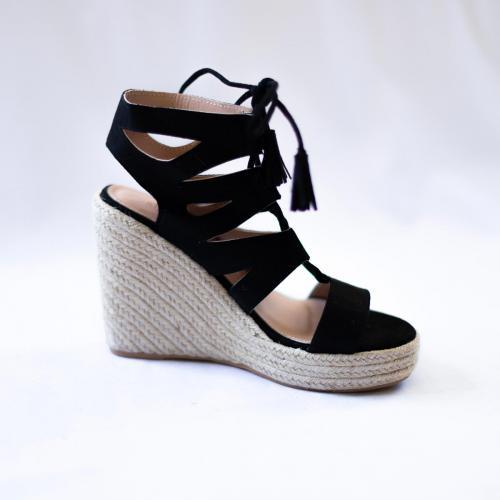 Sandales compensées effet daim Sophie