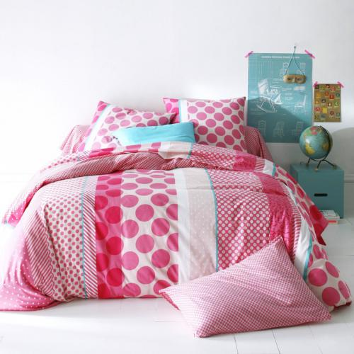 3 SUISSES Collection - Housse de couette coton LIMONADE - Rose - Linge de maison