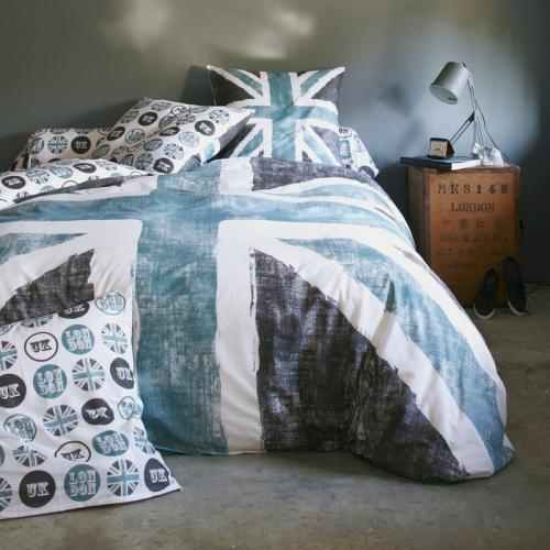 3S. x Collection - Housse de couette coton OLD FLAG - gris - Linge de maison