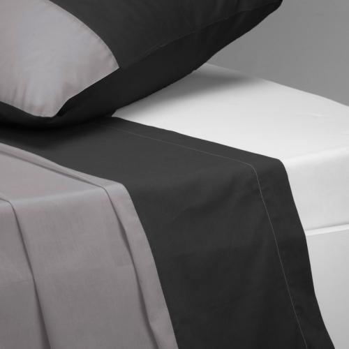 3S. x Collection - Drap plat coton TRIO - noir - Drap plat