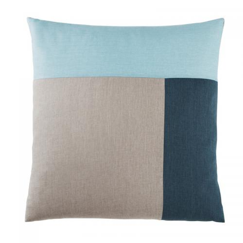 3 Suisses Collection - Taie d'oreiller carrée ou rectangulaire en pur coton TRIO - Bleu - Linge de maison