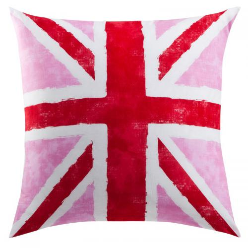 3 SUISSES Collection - Taie d'oreiller ou de traversin drapeau anglais Coton Old FLag - Rose - Linge de maison