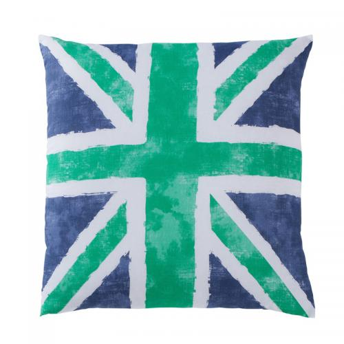3 SUISSES Collection - Taie d'oreiller ou de traversin drapeau anglais Coton Old FLag - Vert - Linge de maison
