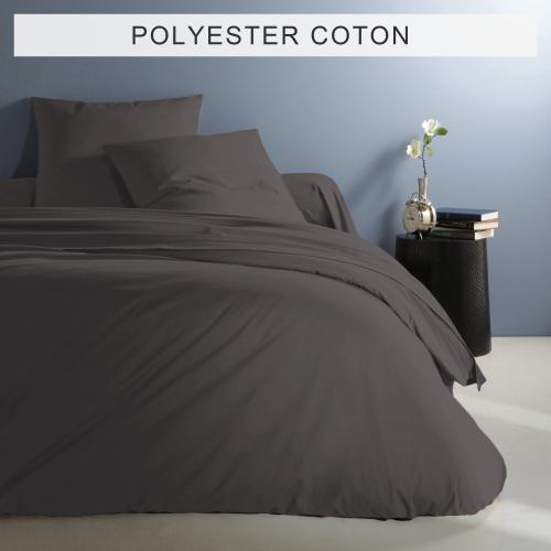 3 Suisses Collection - Housse de couette unie en polycoton - Gris Anthracite - Linge de maison