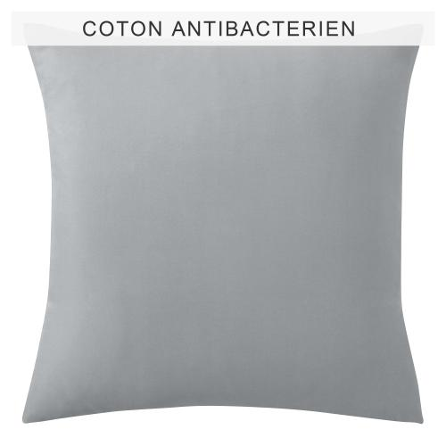 3 SUISSES Collection - Taie d'oreiller ou de traversin coton traité antibactérien Sanitized® - Gris - Taies d'oreillers, traversins