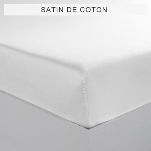 3 SUISSES Collection - Drap-housse uni 1 ou 2 personnes SATIN DE COTON - Blanc - Linge de maison