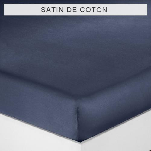 3 SUISSES Collection - Drap-housse uni 1 ou 2 personnes SATIN DE COTON - Bleu - Linge de maison