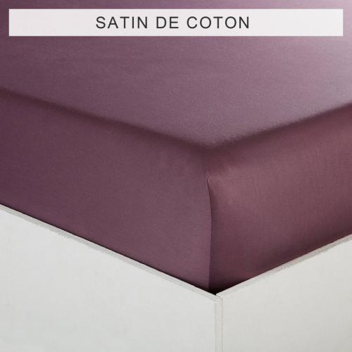 3 SUISSES Collection - Drap-housse uni 1 ou 2 personnes SATIN DE COTON - Violet - Linge de maison