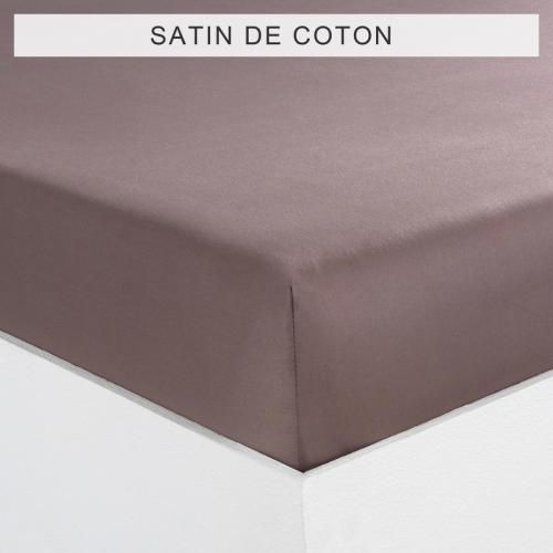 3 SUISSES Collection - Drap-housse uni 1 ou 2 personnes SATIN DE COTON - TAUPE - Drap housse