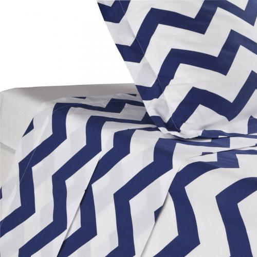3 SUISSES Collection - Drap coton rayures CHEVRON - Blanc - Linge de maison