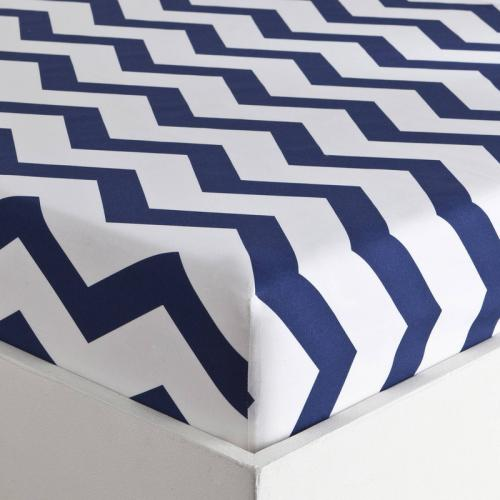 3 SUISSES Collection - Drap-housse coton rayures CHEVRON - Blanc - Linge de maison