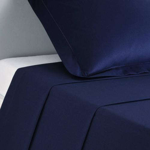3S. x Collection - Drap coton uni PERCALE - Bleu - Drap plat