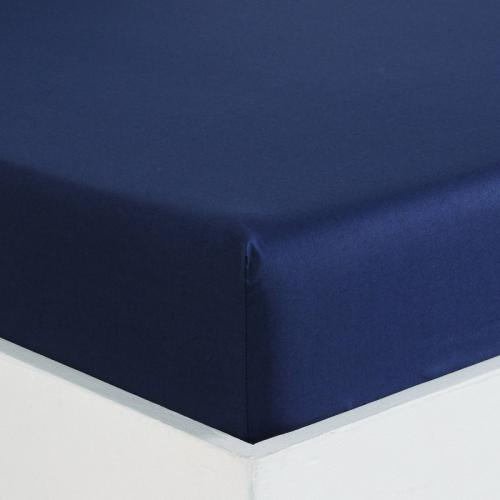 3 SUISSES Collection - Drap-housse coton uni PERCALE - Bleu - Linge de maison