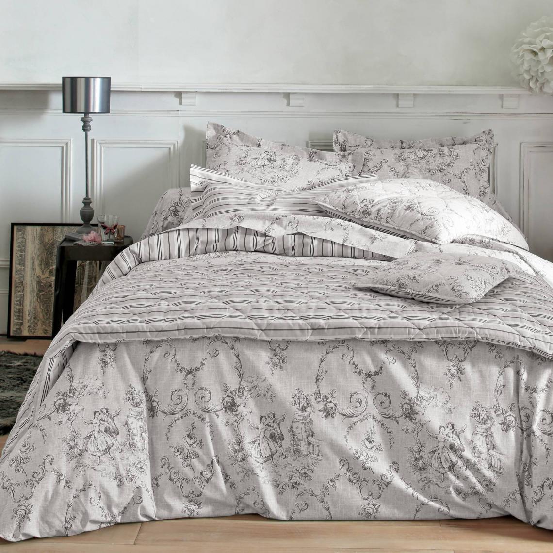housse de couette coton imprim romantique imitation toile de jouy marquise gris 3 suisses. Black Bedroom Furniture Sets. Home Design Ideas
