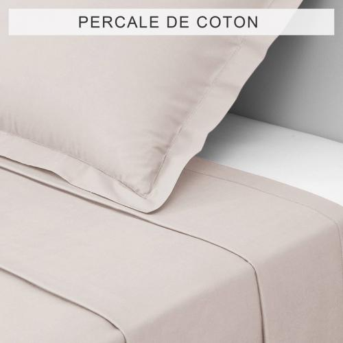 3 SUISSES Collection - Drap coton uni PERCALE - Beige - Drap plat
