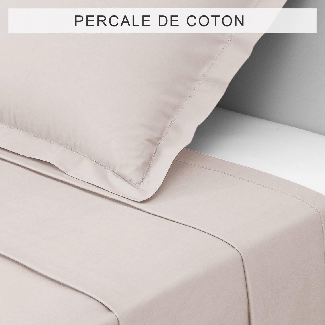 Drap coton uni PERCALE - Beige