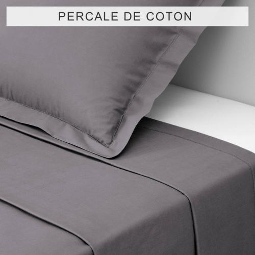 3S. x Collection - Drap coton uni PERCALE - Gris - Drap plat