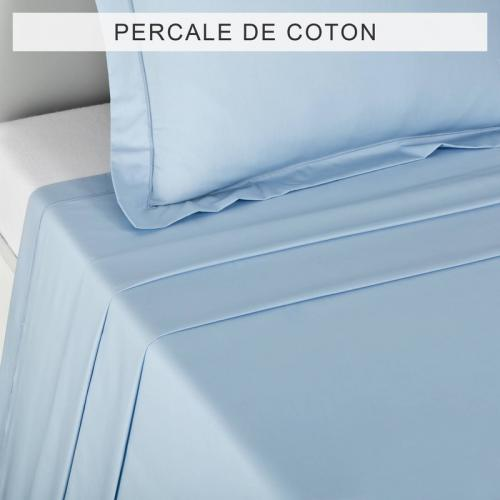 3 SUISSES Collection - Drap coton uni PERCALE - Bleu - Drap plat Uni