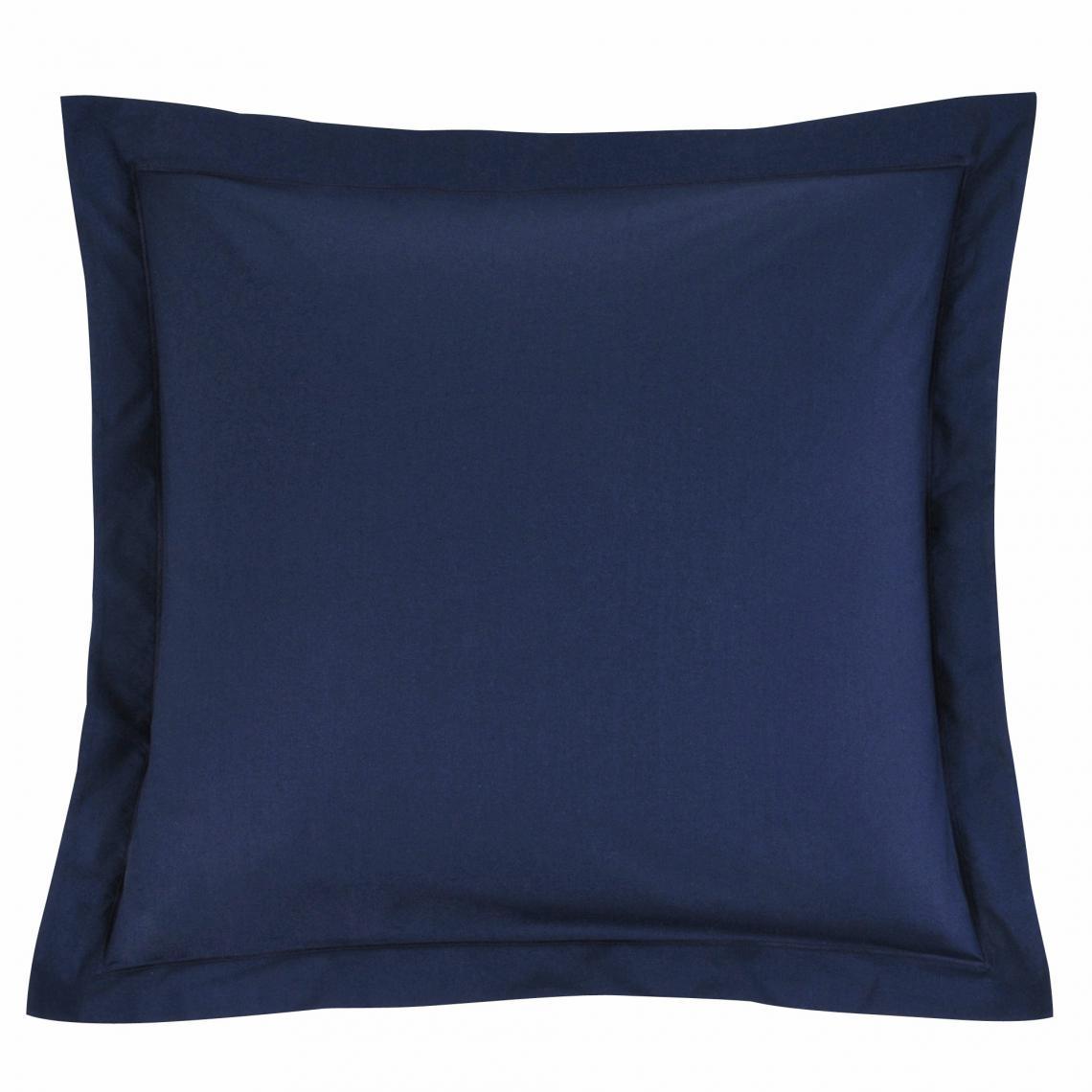 Taie D Oreiller Ou De Traversin Coton Unie Percale Bleu Marine
