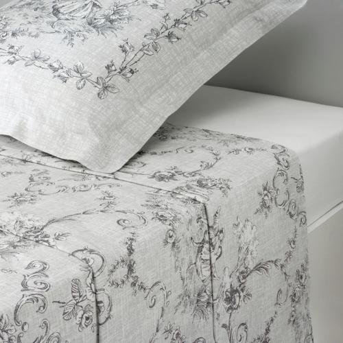 3S. x Collection - Drap plat coton MARQUISE - gris - Drap plat