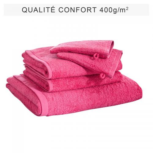 3 SUISSES Collection - Lot de 5 éponges unies coton 400 gm² - Rose - Serviette de toilette