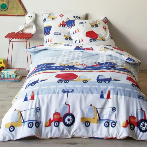 3 SUISSES Collection - Lot housse de couette + taie d'oreiller en coton imprimé motif camions TRUCKS - Multicolore - Linge de maison