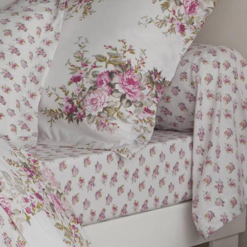 3 SUISSES Collection - Drap coton imprimé CHARMING GARDEN - Rose - Linge de maison