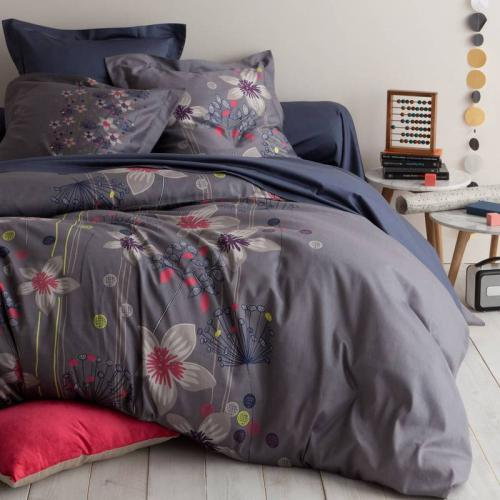 3 SUISSES Collection - Housse de couette satin de coton imprimé CLEMATIS - Violet - Promotions Linge de maison