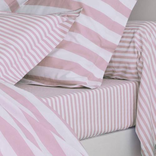 3 SUISSES Collection - Drap coton imprimé PASTEL LINE - Rose - Linge de maison
