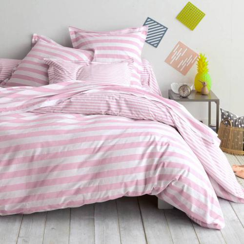 3S. x Collection - Housse de couette coton PASTEL LINE - rose/blanc - Linge de lit