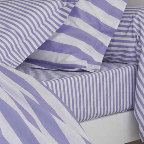 3 SUISSES Collection - Drap-housse coton imprimé PASTEL LINE - Violet - Linge de maison