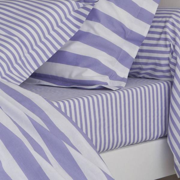 Drap-housse coton imprimé PASTEL LINE - Violet 3 SUISSES Collection Linge de maison