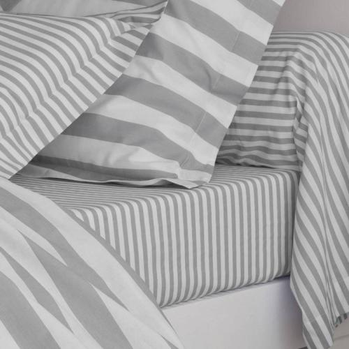 3 SUISSES Collection - Drap coton imprimé PASTEL LINE - Gris - Drap plat