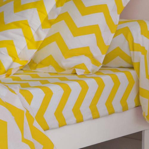 3 SUISSES Collection - Drap coton imprimé rayures CHEVRON - Jaune - Linge de maison