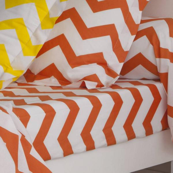Drap-housse coton imprimé rayures CHEVRON - Orange 3 SUISSES Collection Linge de maison