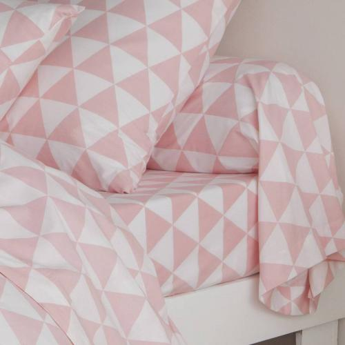 3S. x Collection - Drap-housse coton LORENZ - rose/blanc - Drap-housse