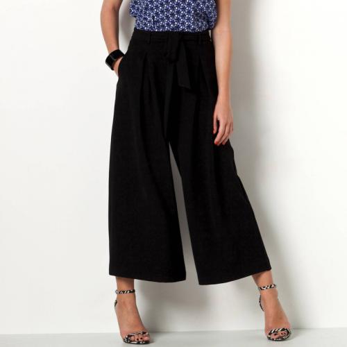 3 SUISSES Collection - Pantalon raccourci extra-large à pinces avec liens à  nouer femme 4fe9006989a