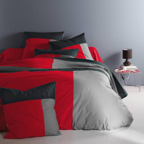 3 SUISSES Collection - Housse de couette coton TRIO - Rouge - Linge de maison