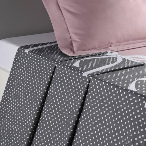 3S. x Collection - Drap plat coton CALISTA - rose/gris - Drap plat