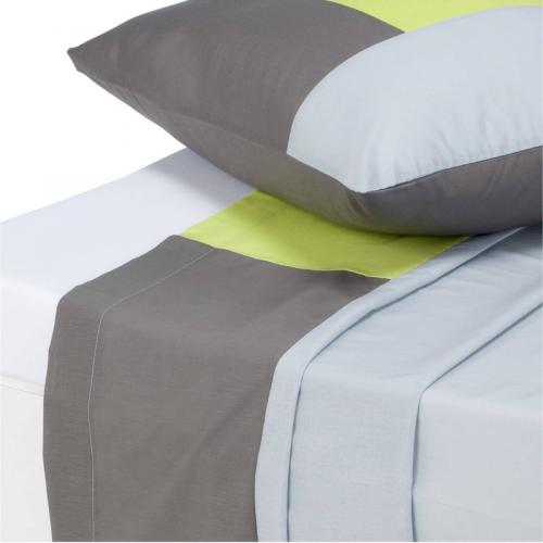 3 SUISSES Collection - Drap 1 ou 2 personnes en pur coton TRIO - Gris - Drap plat