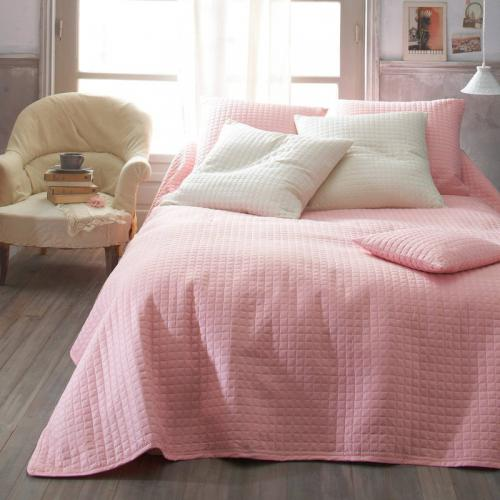 3 SUISSES Collection - Jeté de lit microfibre motif carreaux - Rose - Linge de maison