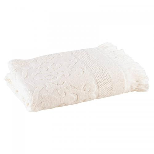 3 SUISSES Collection - Serviette éponge coton fantaisie jacquard et franges - Blanc - Serviette de toilette