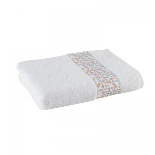 3S. x Collection - Drap de bain éponge coton 400gm² TRIANGLE - Blanc - Linge de maison